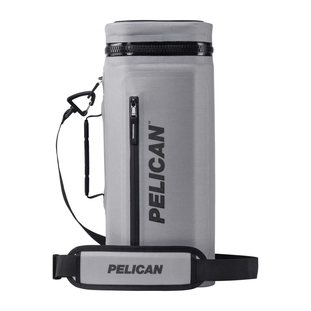Gray pelican sling cooler standing up.