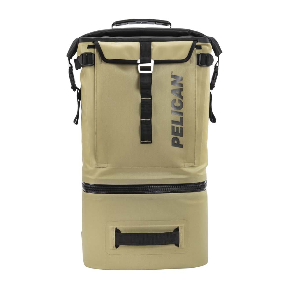 Tan backpack cooler front view.