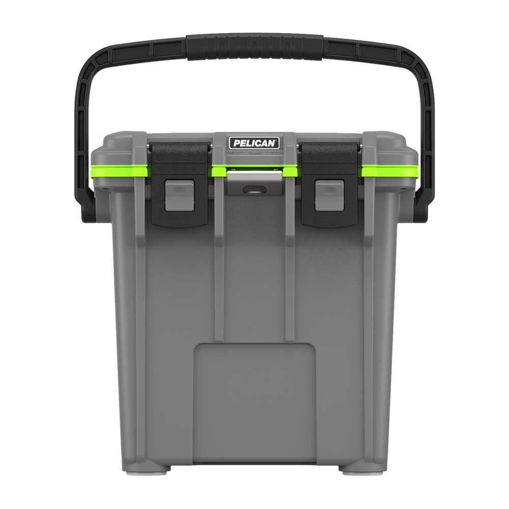 Closed gray cooler with black handle.