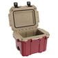 Opened red cooler with tan interior.