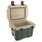 Opened green cooler with tan interior.