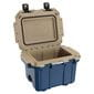 Open blue cooler with tan interior.