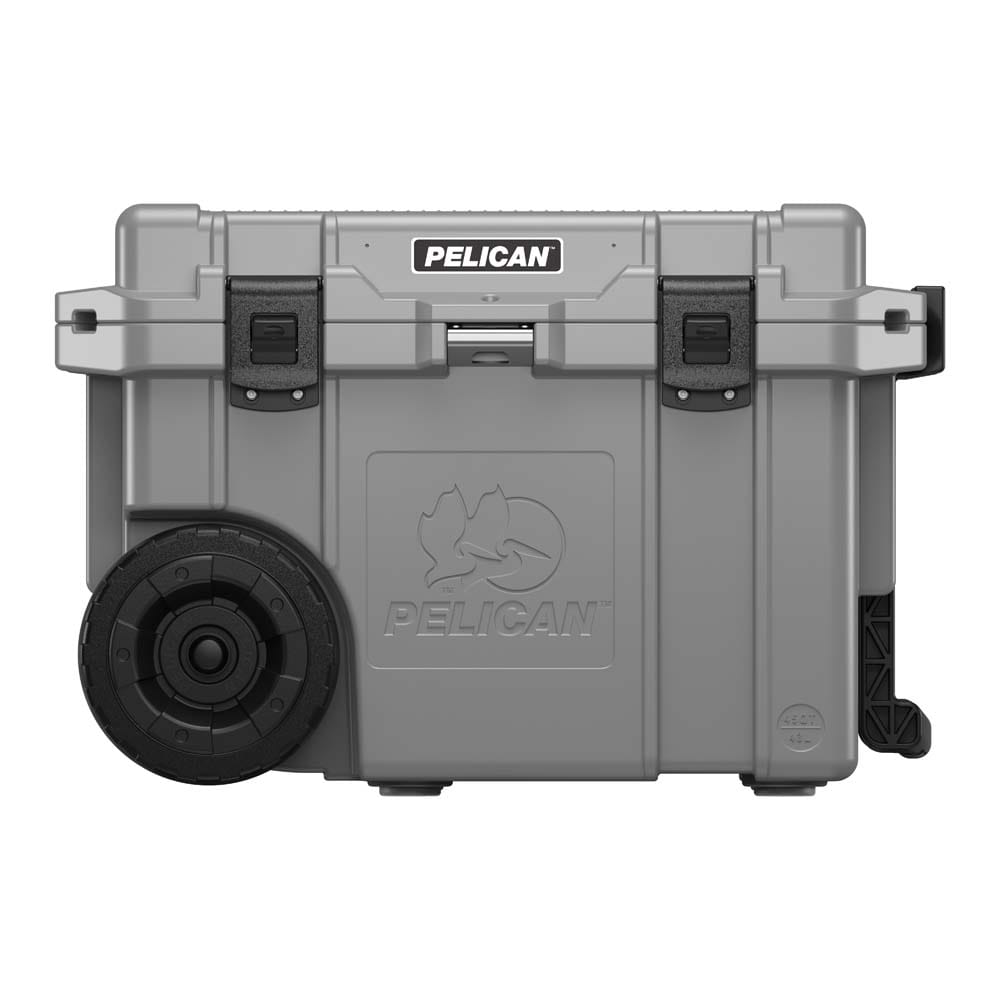 Gray cooler with wheels front view.