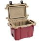 Open red cooler with tan interior.