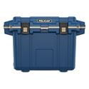Closed blue cooler front view.
