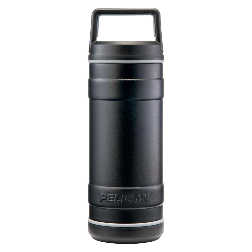 Black water bottle with square-like handle.