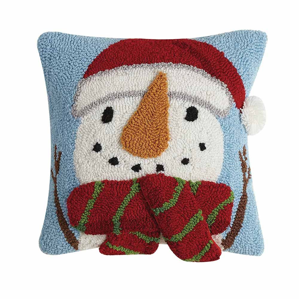 Snowman with scarf and Santa hat square pillow.