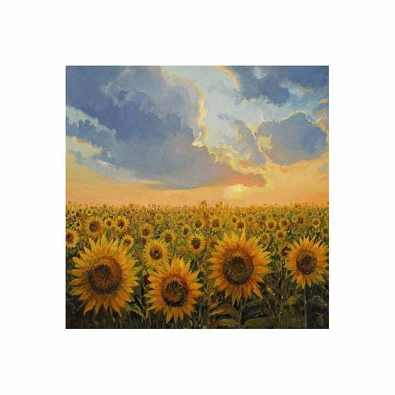 field of sunflowers with sunshine and clouds outdoor wall art print
