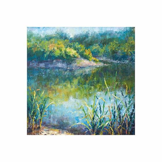 blue lagoon with grassy area surrounding water outdoor wall art print