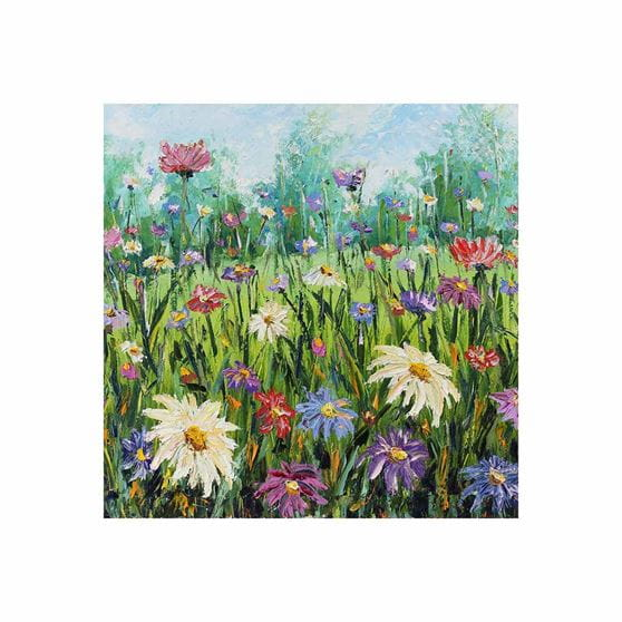 field of Gerber daisies with blue skies outdoor wall art print