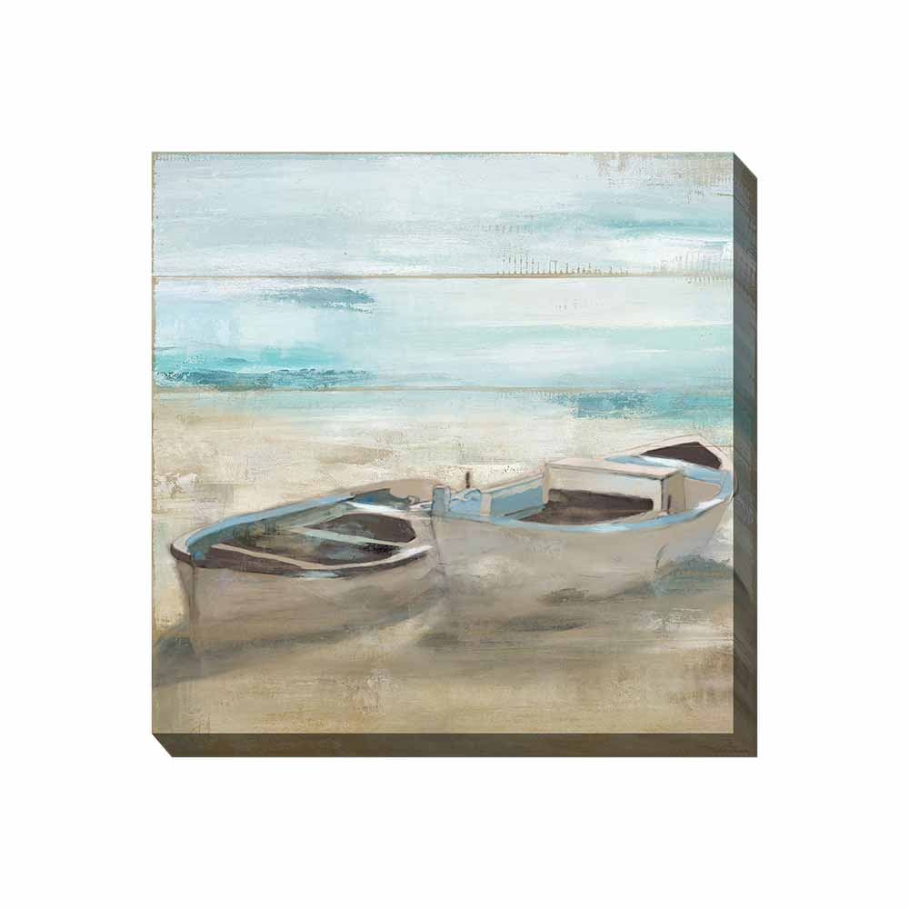 two canoes sitting on a sandy beach outdoor wall art print