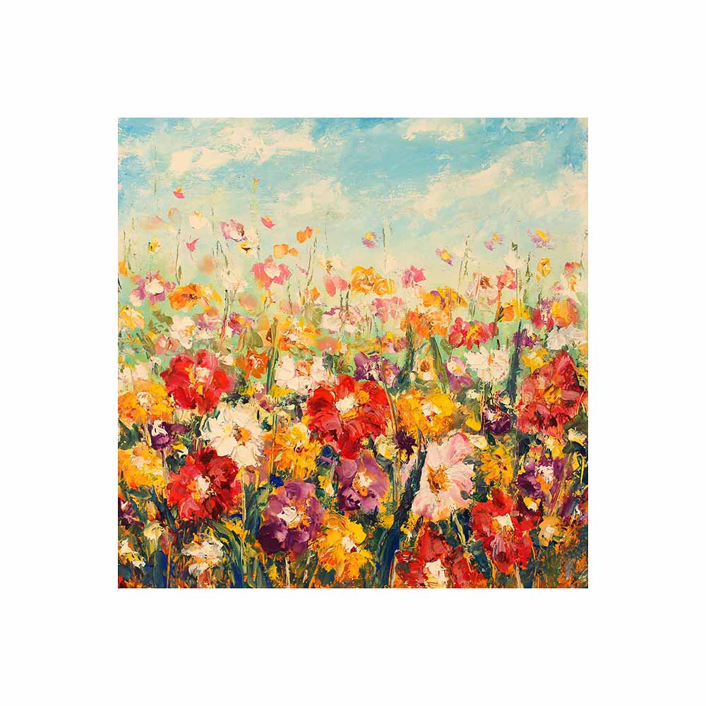 field of flowers with blue sky and clouds outdoor wall art print