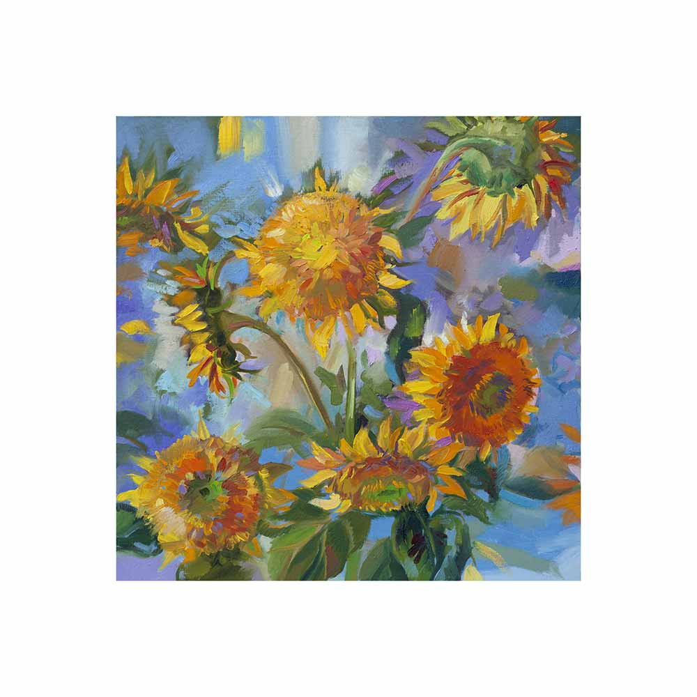 sunflowers with blue and purple background outdoor wall art print