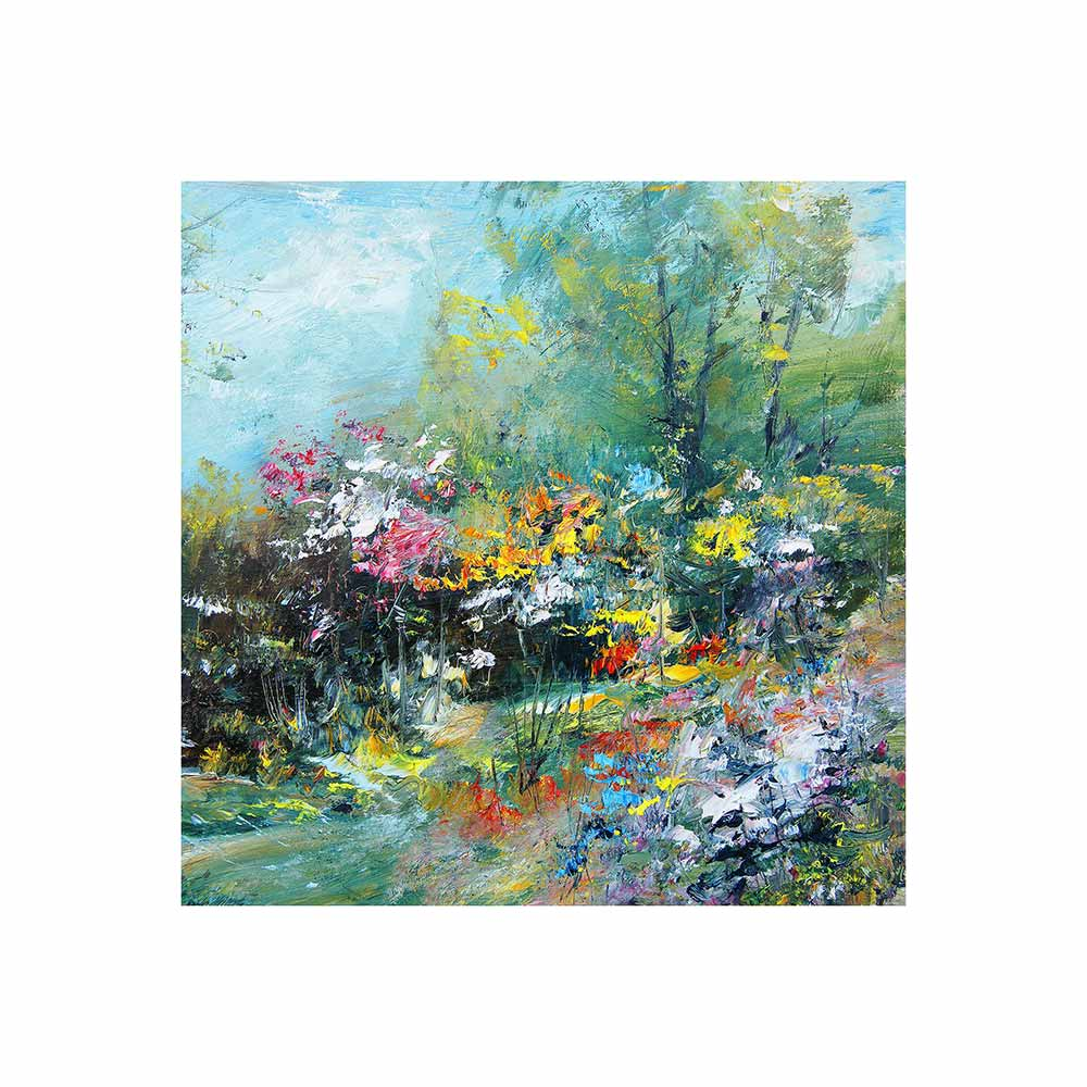colorful impression-style garden scene outdoor wall art print