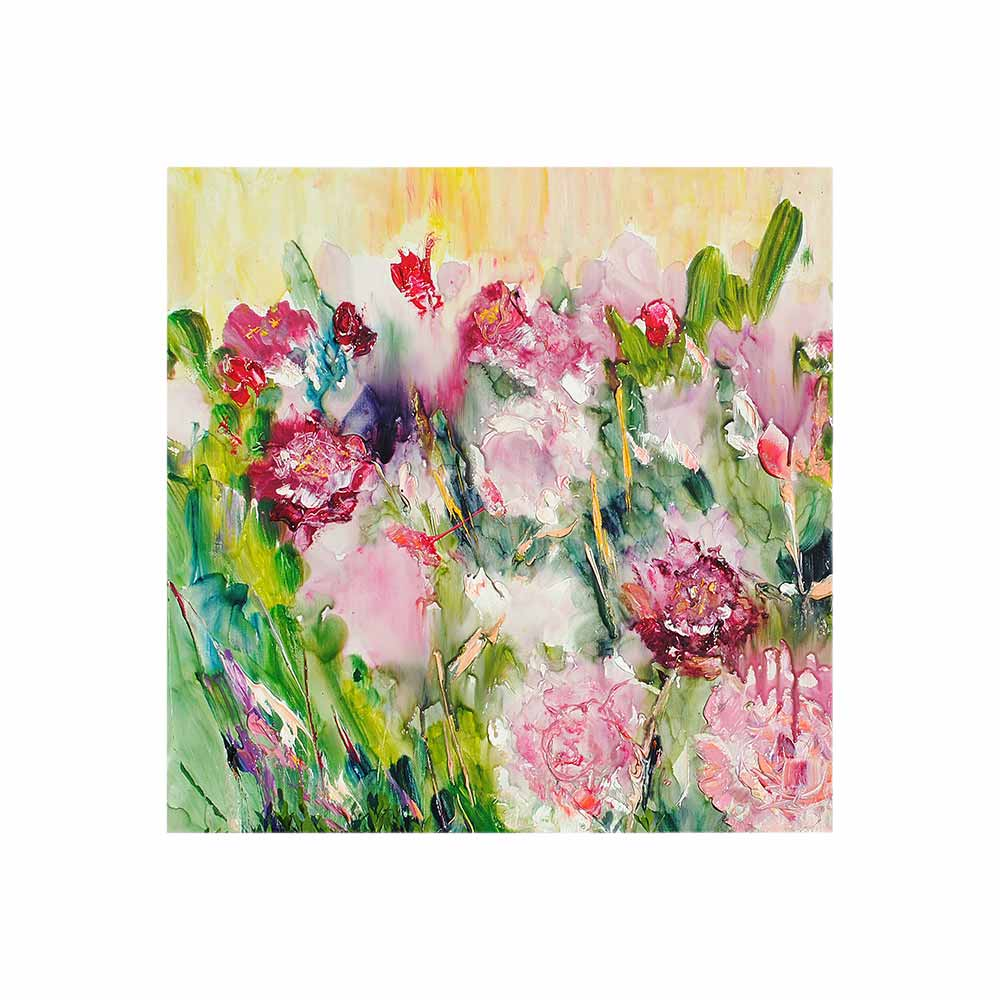 field of pink peonies with yellow background outdoor wall art print