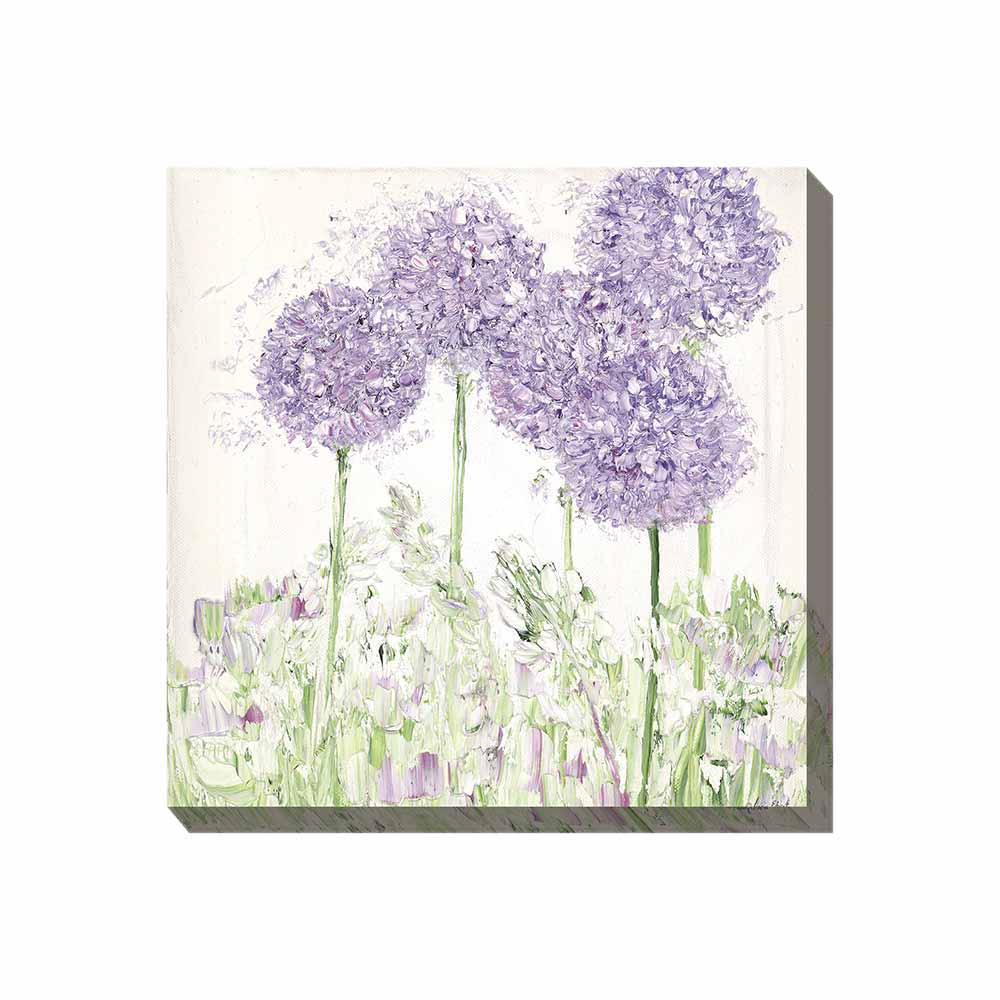 dusky purple allium flowers outdoor wall art print
