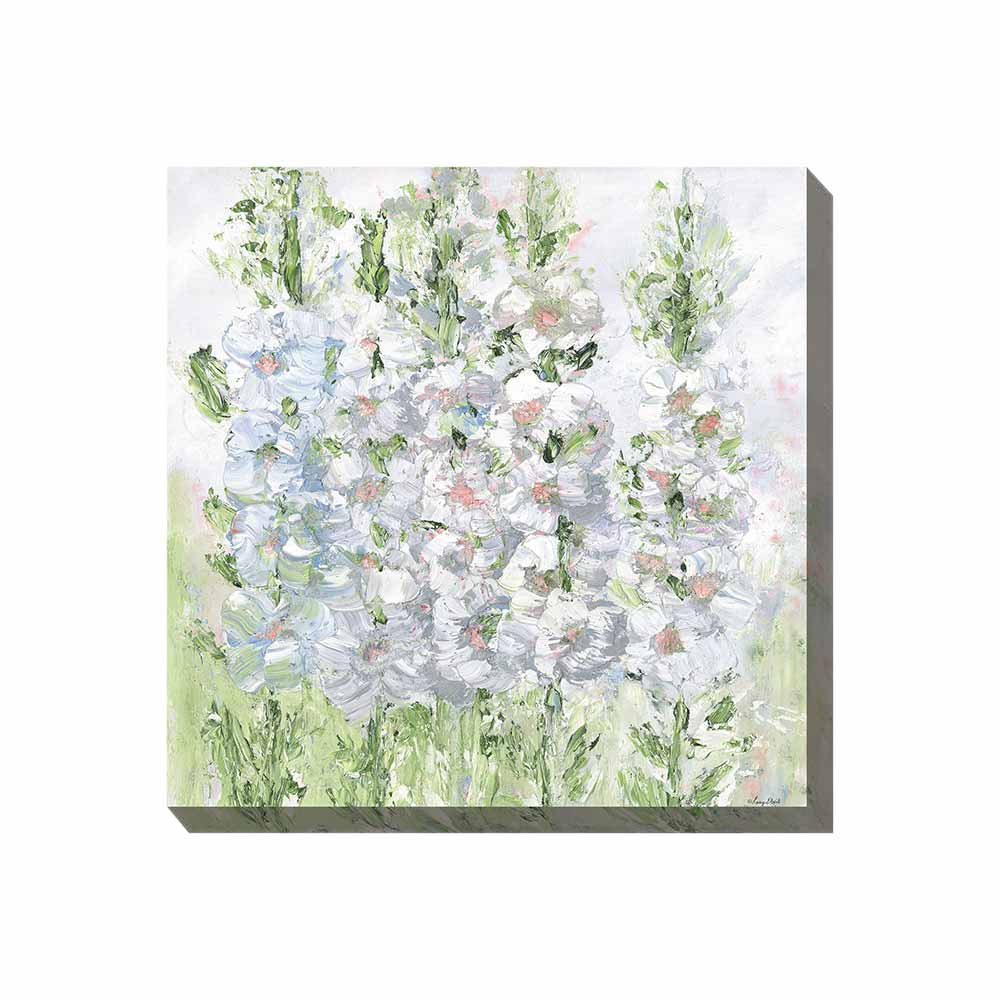 hollyhocks in soft pink, grays, and greens outdoor wall art rpint