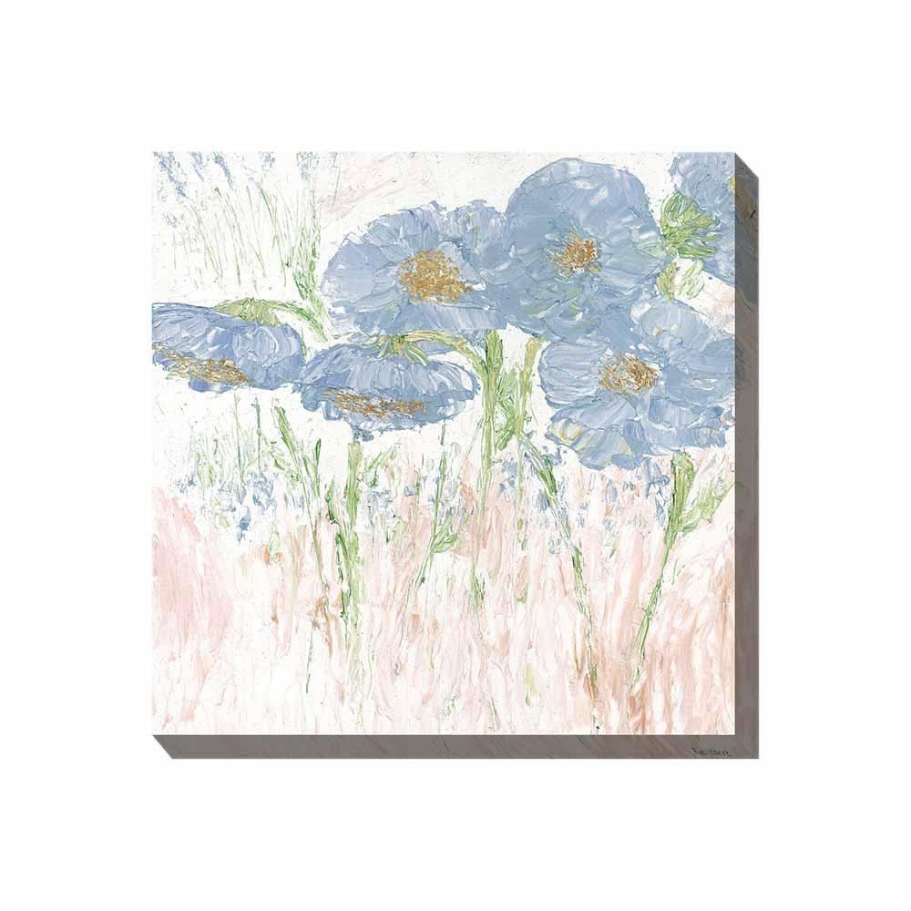 dusky, blue-gray poppies outdoor wall art print