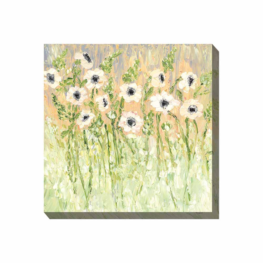 white and black anemone flowers on a peachy pinks, lavender, and soft green background outdoor wall art print