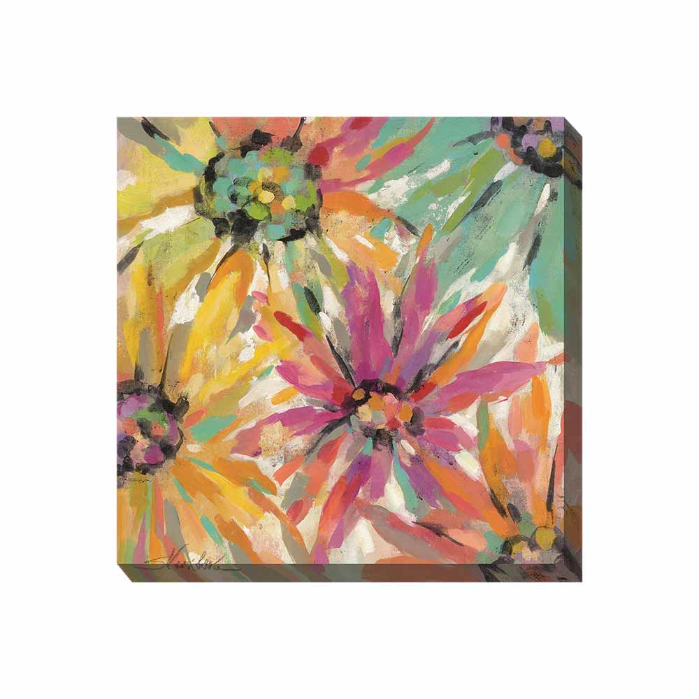 giant daisies in psychedelic colors outdoor wall art print