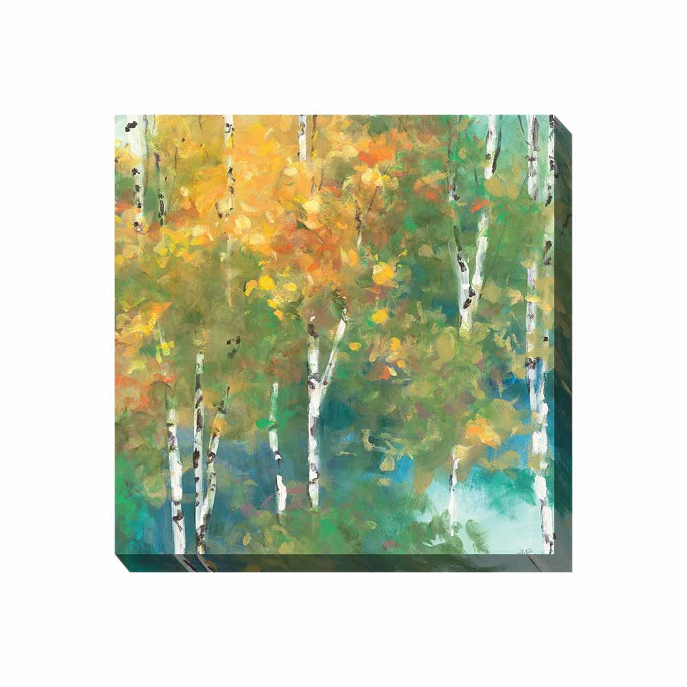 yellow, green, and blue forest scene wrapped canvas print