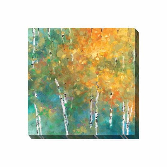 yellow, orange, blue, and green forest scene wrapped canvas print