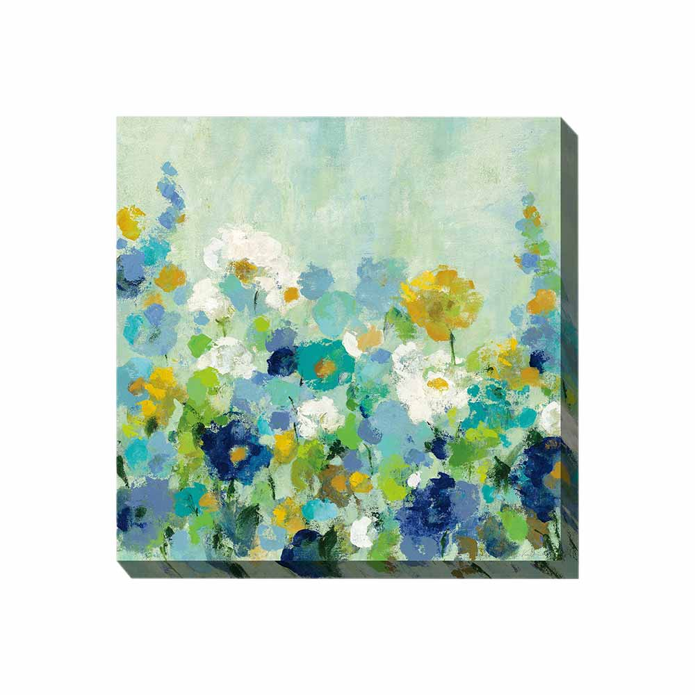 blues, greens, golds and white flower scene wrapped canvas print