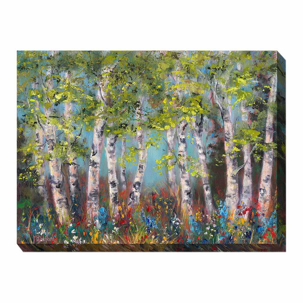 multi-colored forest scene wrapped canvas print