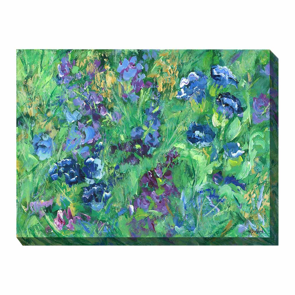 blue, purple, and green floral wrapped canvas print