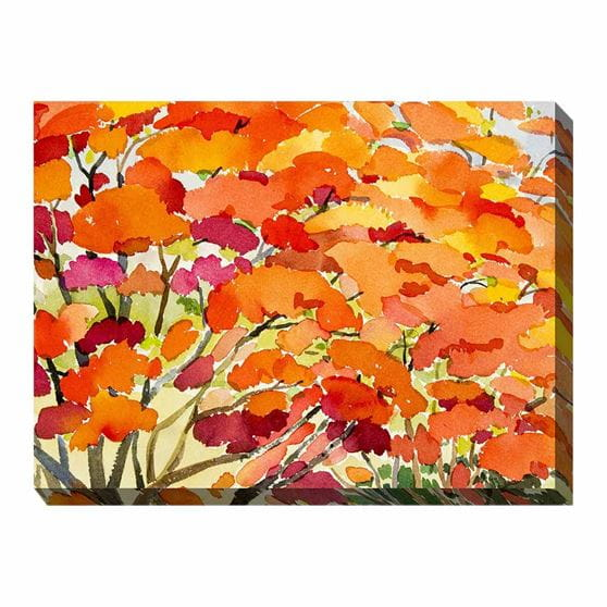 Watercolor blooms in pink, yellow, orange, and red wrapped canvas print