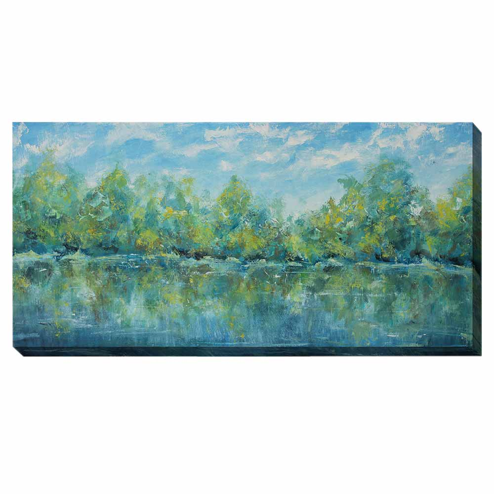 blue and green water and tree scene wrapped canvas