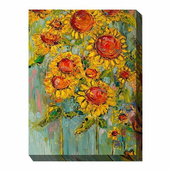 bunch of sunflowers on a blue.green background - wrapped canvas print