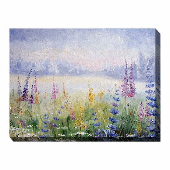 purple, pink, and yellow flowers on background - printed canvas art