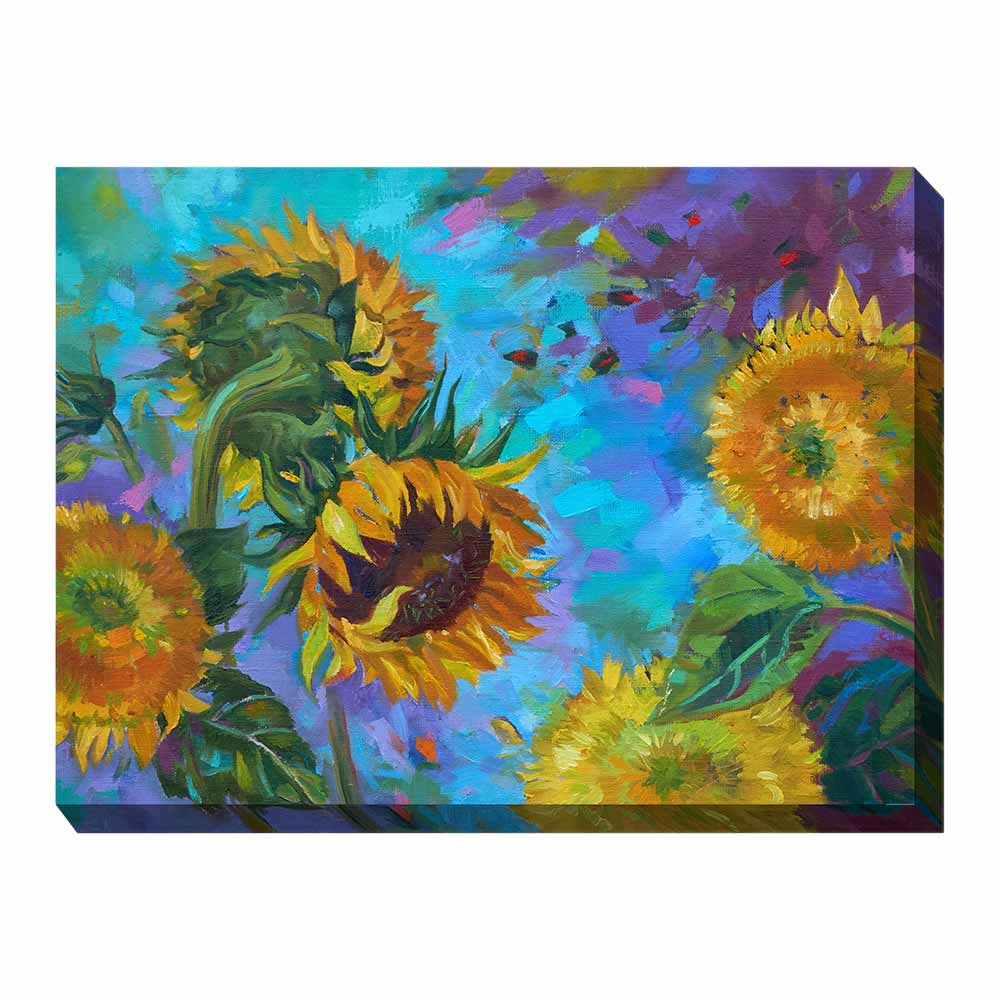 sunflowers on a blue and purple background - printed canvas art