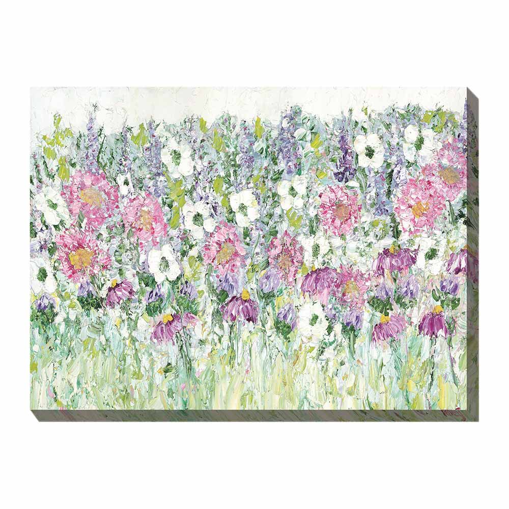 dense garden of pink, white, and purple flowers - printed canvas art