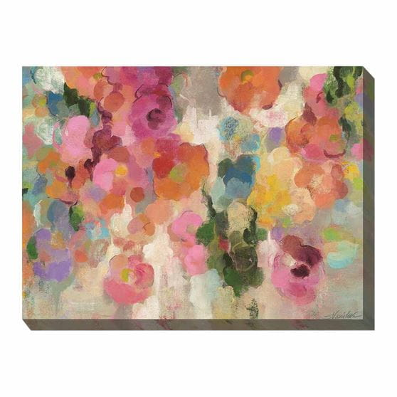 multi-colored abstract flowers - printed canvas art