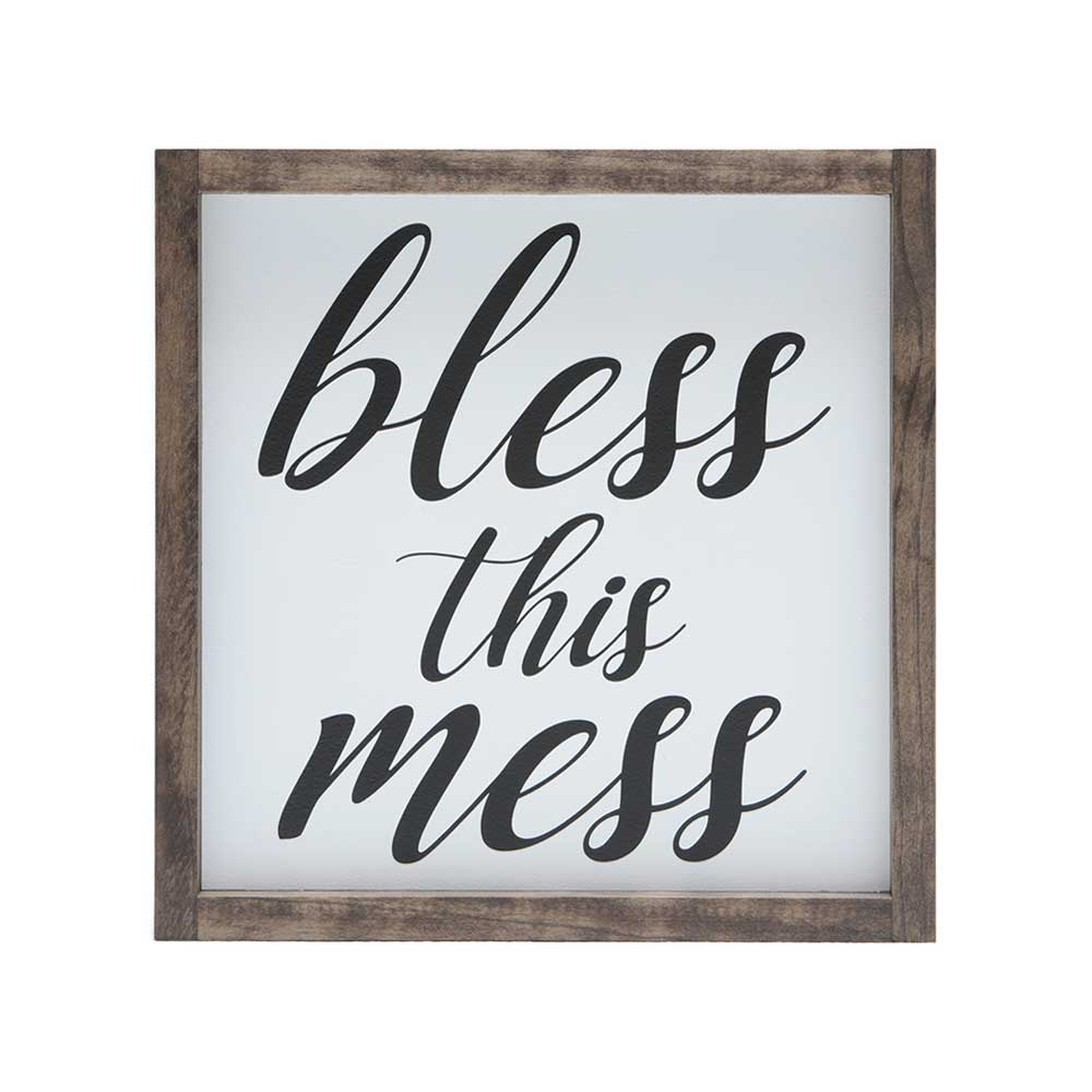 bless this mess quote stenciled on white wood with stained frame