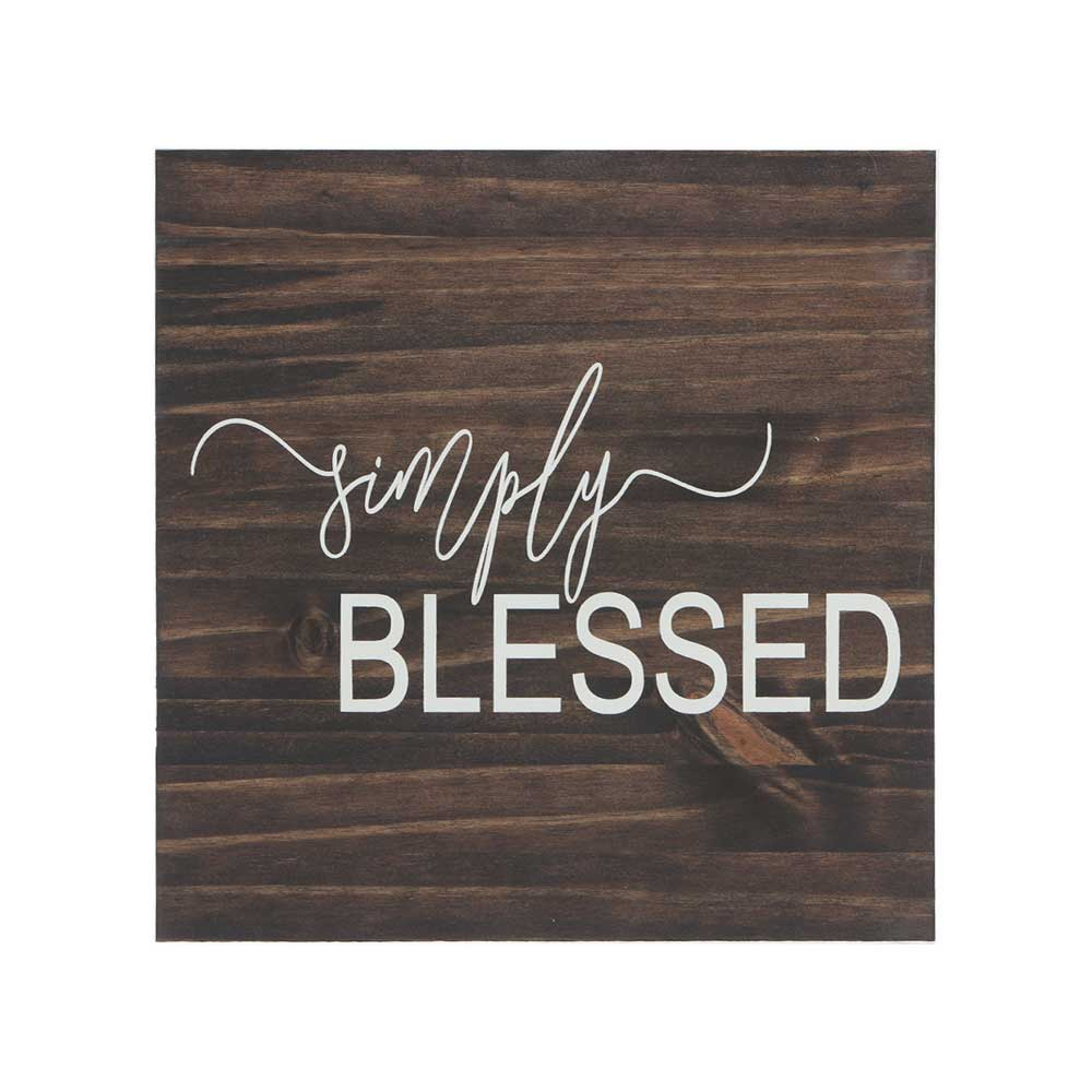 simply blessed quote stenciled on stained wood