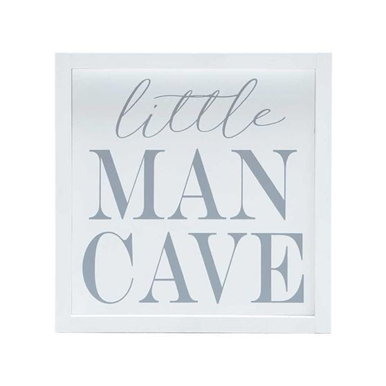 little man cave quote stenciled in gray on white wood with white frame