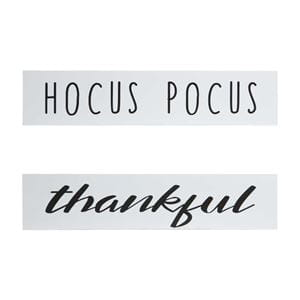 hocus pocus and thankful quote on white wood with black font