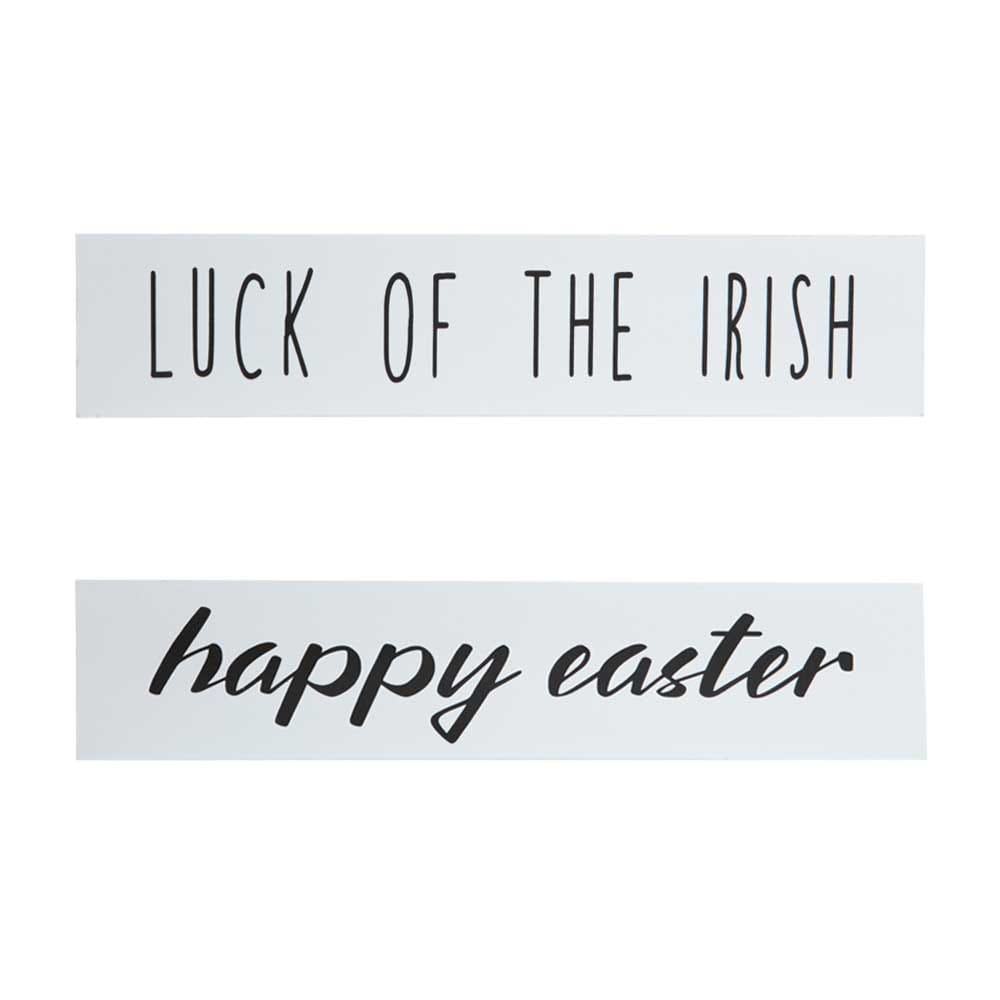 luck of the irish and happy easter quote on white wood with black font