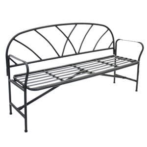 black wrought iron bench with rounded back and arms