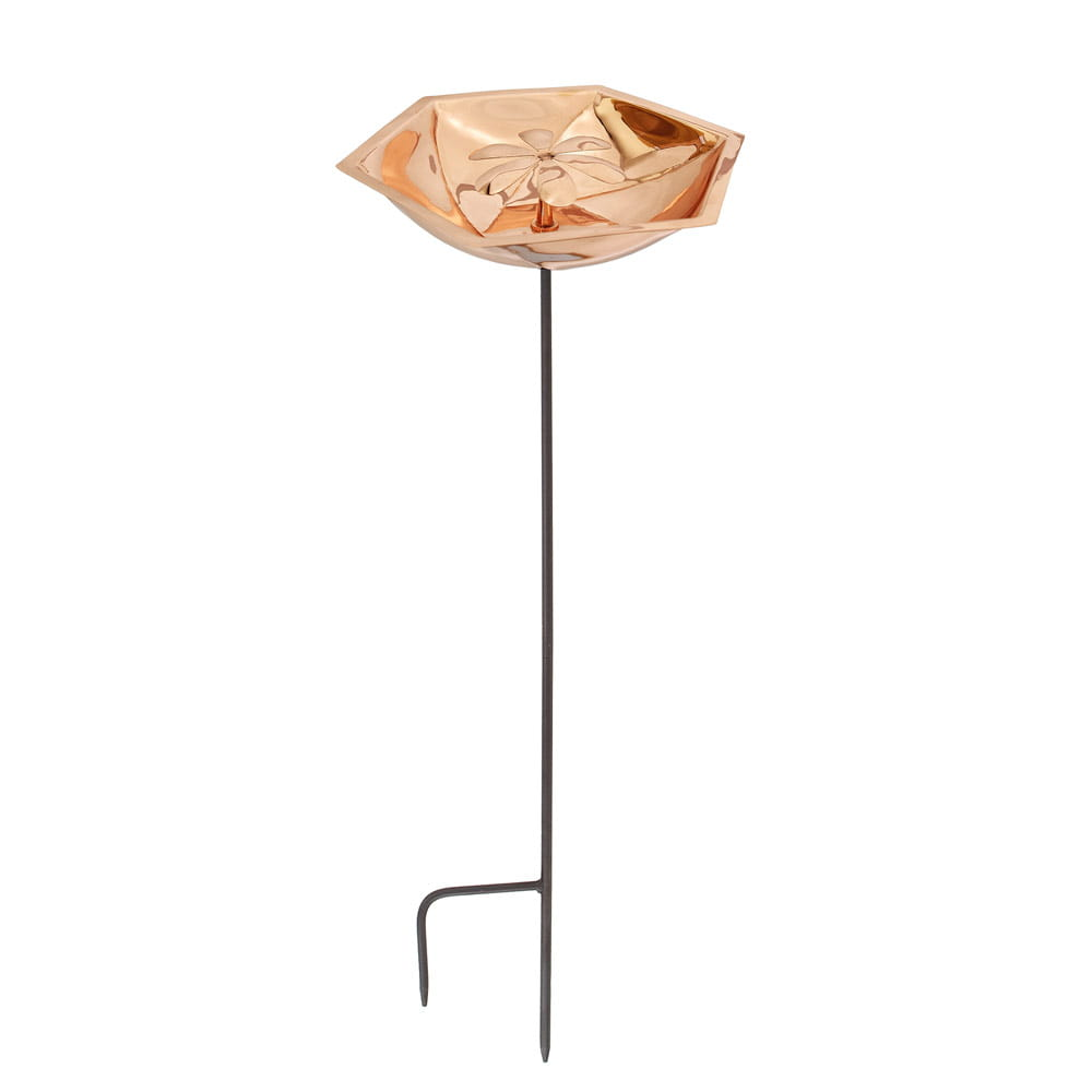 achla copper bee fountain with stand close up on white background