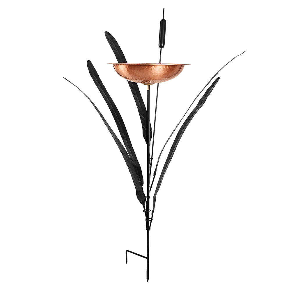 side view of achla single cattail birdbath