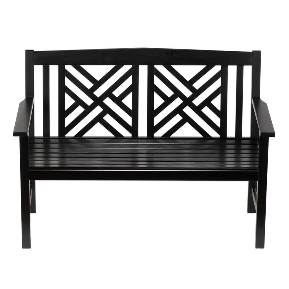 achla black fretwork bench on white background