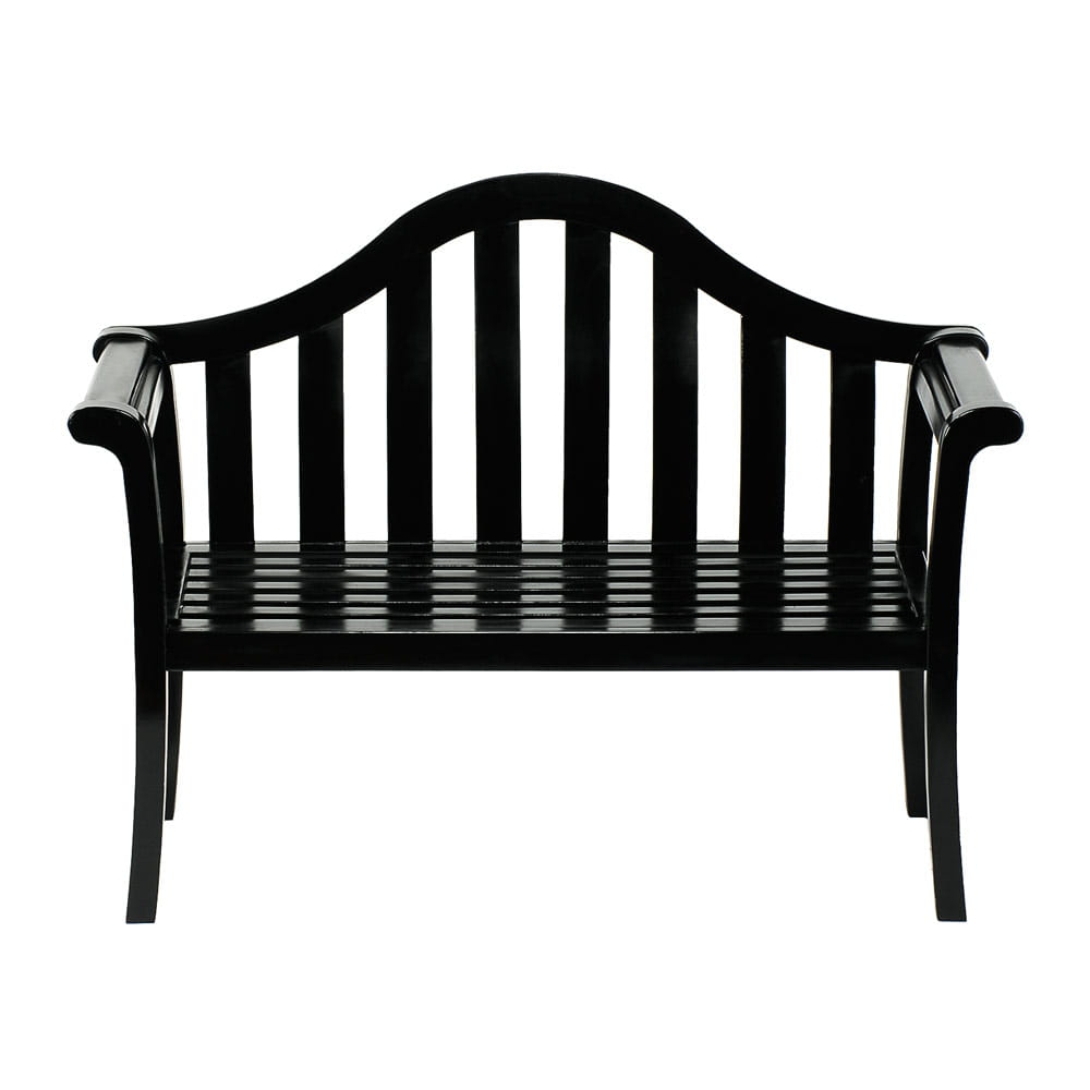 achla black camel back bench on white background