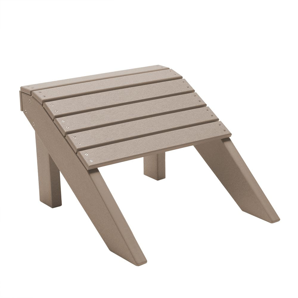 weathered wood fireside adirondack footrest