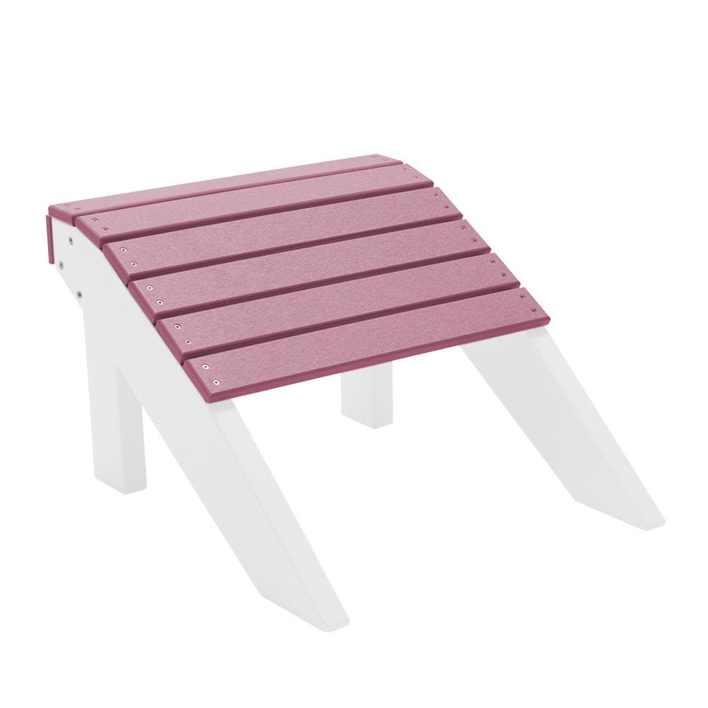 white and pink fireside two-tone adirondack footrest