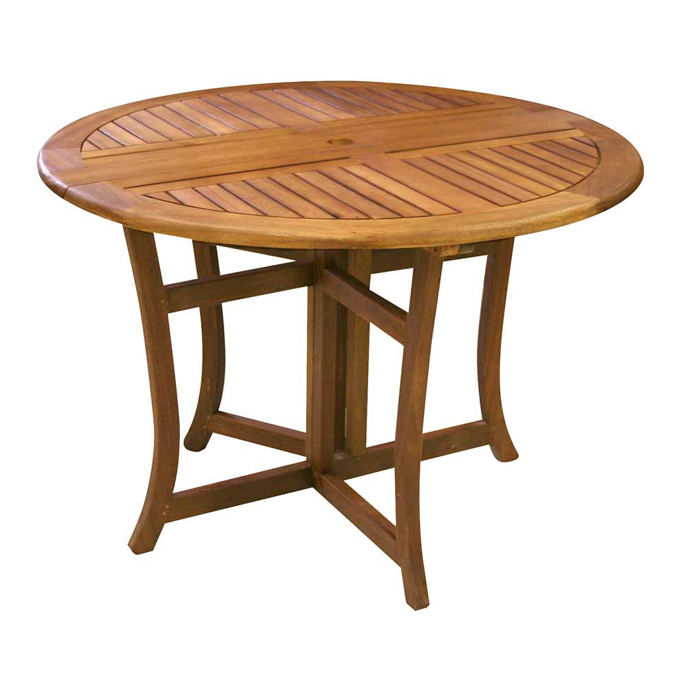 48 inch brown eucalyptus fold-able table.