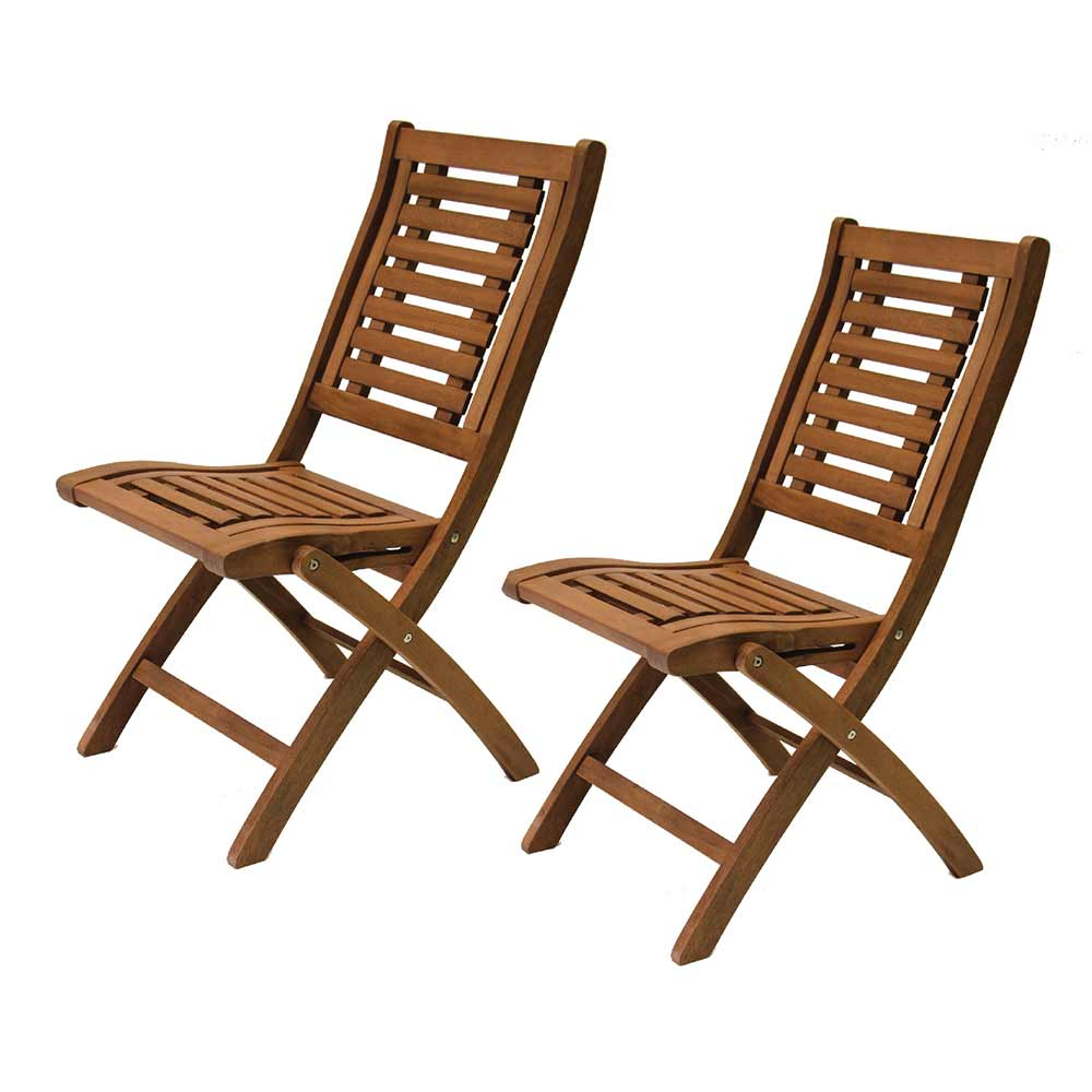 Two brown eucalyptus folding chairs.